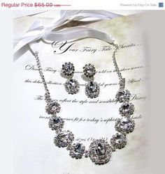 Wedding jewelry set  Bridal necklace earrings by GlamDuchess, $45.50