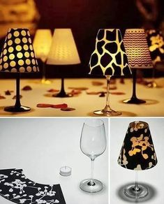 Cute lamps from wine glasses :) Reception table decor.