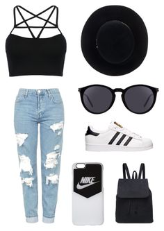 """""""Untitled #17"""" by julia-swanepoel ❤ liked on Polyvore featuring WithChic, Topshop, adidas, Yves Saint Laurent, Eugenia Kim and NIKE"""