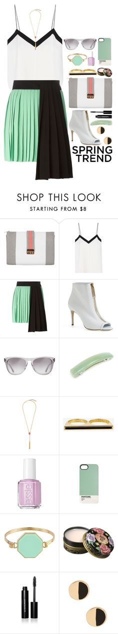 """""""Cool as a Cucumber Outfit"""" by ohsosartorial on Polyvore featuring Miss Selfridge, TIBI, FAUSTO PUGLISI, Burberry, Oliver Peoples, Vince Camuto, Eddie Borgo, Essie, Marc by Marc Jacobs and Anna Sui"""