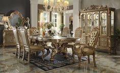 Chateau de Chambord Gold Patina 7pcs Dining Table Set