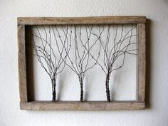 Size: approximately 38 (w) x 28 (h) x 3 (d)  This thick rustic barn wood frame and barbed wire tree wall art is sure to compliment your home. Beautiful character. Made from reclaimed barn wood from Phlox, Wisconsin from the now retired farm that has been in my family for 4 generations. Youll see and feel the history in the natural distressing that years of harsh Wisconsin weather created. Beautiful vintage barbed wire is wound together then shaped into three entwined trees. Nice and large to…