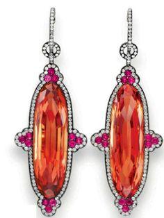 JAR imperial topaz, ruby and diamond ear pendants. Formerly belonged to Ellen Barkin sold at Christie's. Jar Jewelry, Fine Jewelry, Topaz Earrings, Drop Earrings, Topaz Jewelry, Bling Bling, Jewelry Accessories, Jewelry Design, Imperial Topaz