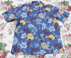Daniel Cremieux Men Blue Floral Hawaiian Shirt Size L #DanielCremieux #Hawaiian