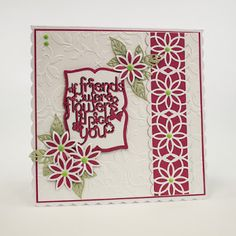 Another day, another card: Simple Screens x 2.  Tonic products used - Clematis Vine Simply Screen die set, Flora Frames for the leaves, If Friends were flowers sentiment die set, Memento Mounted Rose frames, Apple green Crystal drops, Essentials Magnificent Magenta card stock, Annabel embossing folder