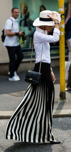 Pleated Black and White Maxi