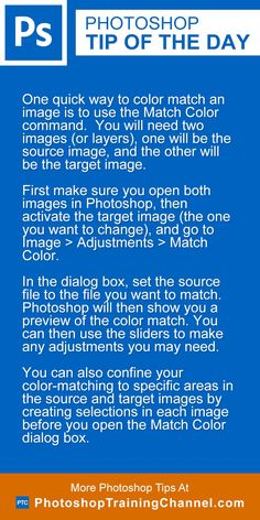 Photoshop tip of the day - Match color of an image. Photoshop tips.
