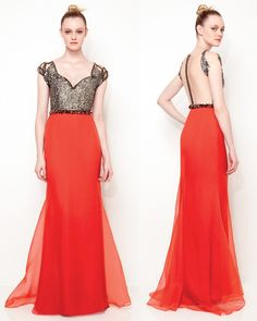 Dress orange and black