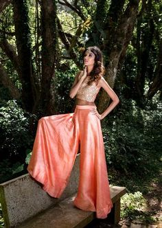 Peach floral embroidered crop top and raw silk palazzo pants. Indian Bridesmaid Dresses, Indian Dresses, Indian Outfits, Indian Clothes, Western Girl Outfits, Indian Crop Tops, Peach Clothes, Girls Crop Tops, Floral Crop Tops