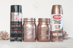 Lets talk rose gold spray paint colors! I also show some acrylics. I have bits of copper/rose gold mixed in with my gray, white and aqua-teal colors in my home. Update: This post contains a(Best Paint Sprayer) Spray Paint Colors, Gold Spray Paint, Gold Mason Jars, Mason Jar Crafts, Rose Gold Painting, Spray Painting, Gold Painted Furniture, Best Paint Sprayer, Rose Gold Decor