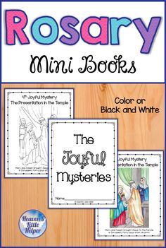 These printable Rosary mini books are perfect for Catholic kids! The drawings will help children learn about the lives of Jesus and Mary through the different mysteries. These mini books are a great activity for Catholic children to create for Religious education in the classroom, Sunday School or homeschool. A How to Pray the Rosary page and prayer pages are also included. #HeavensLittleHelper #Catholic #CatholicKids #Rosary #Mary #CatholicPrayers #CCD #PSR Catholic Children, Catholic Religious Education, Catholic Crafts, Rosary Catholic, Catholic Prayers, Catholic Homeschooling, Homeschool Kindergarten, Catholic School, Cumpleaños Angry Birds