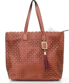 Laser Cut Amy Tote in Chestnut