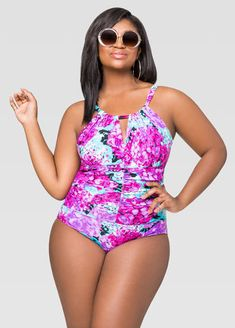 39ee3e32ecb Hydrangea Ruched Keyhole Swimsuit Hydrangea Ruched Keyhole Swimsuit Plus  Size Swimsuits