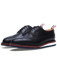 Thom Browne Wedge Sole Long Wing #Brogue (Black Waxy )