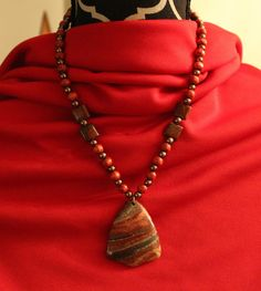 """Shades of Fall - Orange and Brown Beaded Pendant Necklace - 11.25"""" L"""