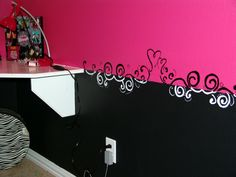 Pink and Black Teen Zebra Girls Bedroom, Pink and Black Girlie Teen Zebra Bedroom, I couldnt find a border I liked - or one that would match - and my husband refused to put in a chair railing, so I hand-painted one.     , Girls Rooms Design