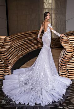dimitrius dalia 2018 royal long sleeves off the shoulder deep plunging sweetheart neckline full embellishment elegant mermaid weddig dress open back royal train bv -- Dimitrius Dalia & Wedding Dresses Gorgeous Wedding Dress, Dream Wedding Dresses, Bridal Dresses, Bridal Collection, Dress Collection, Mode Glamour, Couture Wedding Gowns, Mermaid Dresses, Formal Wedding