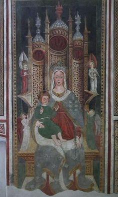 Simone II Baschenis - Madonna col bambino - affresco - 1539 - abside Chiesa di San Vigilio a Pinzolo (Trento, Italia)
