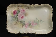 H&Co. L. France rose decorated dresser tray, signed
