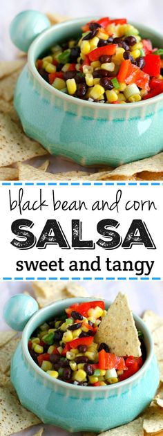 Perfect for Super Bowl Sunday! Sweet and tangy black bean and corn salsa is an easy dip that's a real crowd pleaser!