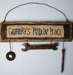 PRIMITIVE GARAGE or WORKSHOP Sign for Grandpa and by CornCobCove, $18.50
