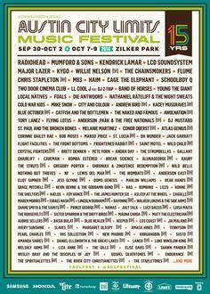 Austin City Limits Music Festival 2016 Lineup