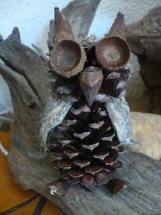 Pine cone Owl, with milkweed and acorn bits.