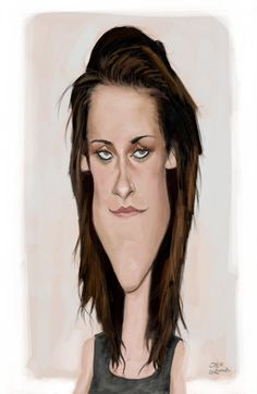 The Exhibition of Caricature by Olle Magnusson/ Sweden :: Kristen_Stewart Crazy Funny Pictures, Funny Pictures Of Women, Pictures Of People, Funny Caricatures, Celebrity Caricatures, Celebrity Drawings, Caricature Artist, Caricature Drawing, Famous Art