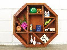 Vintage Hexagon Wood Shadow Box Display Shelf