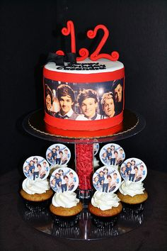 One Direction Cake and Cupcakes by Simply Sweet Creations (www.simysweetonline.com)