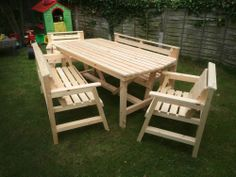 NEW Solid Brand New Wooden Garden Patio Furniture 6 ft table 2 Bench & 2 Chairs