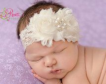 Baby Headband.Ivory or White Baby Girl Headband.Baby Headbands.Shabby Chic Christening Headband.Newborn Headband.Bow Headband