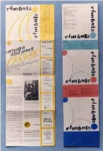 """Logo e testata rivista quindicinale """"Rimbalzo"""" - Edizione Astrea - Bergamo 1985"""