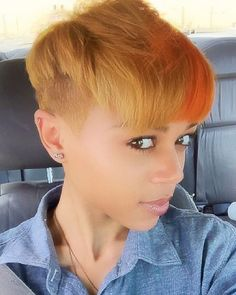 STYLIST FEATURE| In love with this edgy #pixiecut ✂️ styled by  #BowieMD stylist @gr33n_bean at @FrancinesBeautyBar on @cataleya._ Orange spice  #VoiceOfhair