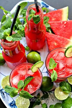 Watermelon, Lime and Mint Juice | Feats of Feasts | A Food Blog