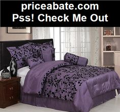 Chezmoi Collection 7pcs Purple Black Flocked Leaves Comforter Set Cal King - #priceabate! BUY IT NOW ONLY $29.99