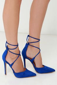 "Your rise to stardom begins with signature looks like the Leading Role Blue Suede Lace-Up Heels! Soft vegan suede composes a split, pointed-toe upper with a high-rise heel back. Crisscrossing laces wrap around the ankle and are finished in shiny gold aglets. 4.5"" wrapped stiletto heel. Cushioned insole. Rubber sole has nonskid markings. Available in whole and half sizes. Measurements are for a size 6. All vegan friendly, man made materials."
