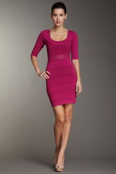 Wow Couture Striped 3/4 Sleeve Dress in Magenta - just add jewels