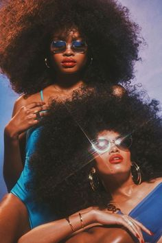 Spring 2019 Eyewear Trend: Hot Stuff Ray-Ban's silver metal-framed glasses and Guess' metal-framed glasses. Kisuii Italian nylon and Lycra jersey maillot; Max Mara Leisure Lycra one-shoulder bikini top and Lycra high-waisted bikini bottom. Foto Portrait, Portrait Photography, Black Is Beautiful, Beautiful Life, Beautiful Pictures, Look Disco, Curly Hair Styles, Natural Hair Styles, Eyewear Trends