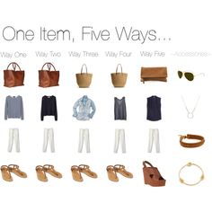 """One Item, Five Ways... White Linen Pants"" by keelyhenesey on Polyvore"