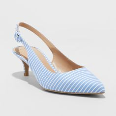 Women's Meghan Kitten Heel Pumps - A New Day Blue 5.5