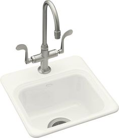 Kohler K-6579-3 Single Basin Cast Iron Bar Sink from the Northland Series White Fixture Bar Sink Cast Iron