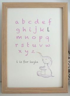 nursery art print - personalised with name and typography - illustration of a painting elephant A4 on Etsy, $24.54