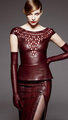 Jitrois  THIS WINE COLORED OUTFIT LOOKS TOUGH GIRL CHIC.