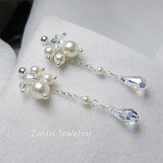 Swarovski Ivory Pearl AB Crystal Sterling Silver Clustering Bridal Earrings.