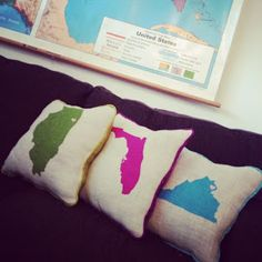 Painted burlap state pillows... could do it with countries too and get one every time you go to a new country!