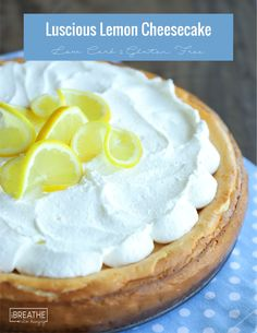 This easy lemon cheesecake is made in your blender! Buttery crust, lemony cheesecake, fluffy whipped cream - it's keto dessert perfection! Low Carb & Atkins