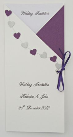 Silver & purple wedding invitations, lovely simple design
