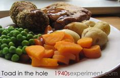 Toad in the Hole - This was a popular wartime recipe using sausages and batter and was very filling when served with vegetables, potato and gravy. I used vegan sausages, soy milk and omitted the egg (and added a tea...