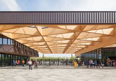 A grand gatehouse welcomes the large flows of, mainly international, visitors to the world famous Keukenhof park. The stepped timber roof structure. Roof Design, Facade Design, House Design, Outdoor Pergola, Pergola Plans, Virtual Reality Architecture, Timber Roof, Canopy Architecture, Facade Architecture